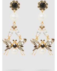 Erdem - Bee Crystal And Faux Pearl Clip Earrings - Lyst