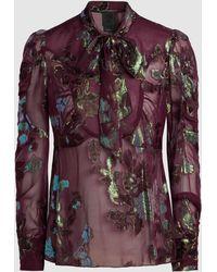 Anna Sui - Iridescent Fil Coupé Silk-blend Blouse - Lyst