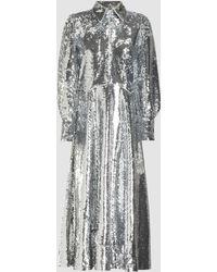 Ganni - Sequin Midi Shirt Dress - Lyst