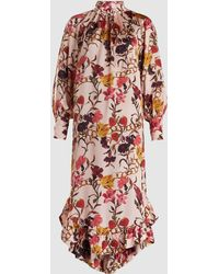 Mother Of Pearl - Marion Ruffled Floral-print Silk Midi Dress - Lyst