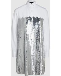 Dima Ayad - Chevron Sequin And Cotton Poplin Blouse - Lyst