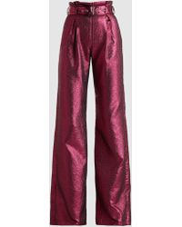 Madiyah Al Sharqi - Belted Lamé Trousers - Lyst