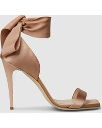 Lanvin - Tie Up Heeled Silk And Leather Sandals - Lyst