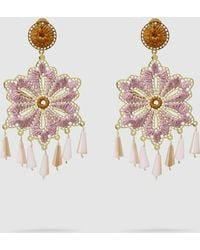 Mercedes Salazar - Hibiscus Gold-tone And Crystal Earrings - Lyst