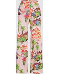 Stella Jean Hawaiian Print Wide-leg Flared Cotton Trousers - Pink