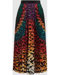 Mary Katrantzou | Uni Printed Crepe De Chine Midi Skirt | Lyst