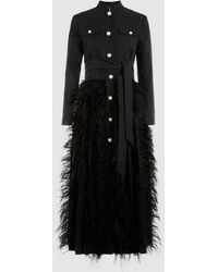 Huishan Zhang - Chocolat Feather-embellished Cotton-blend Coat - Lyst