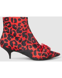 N°21 - Leopard-print Satin Ankle Boots - Lyst