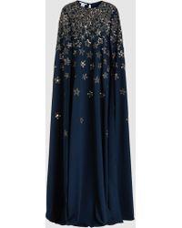 Oscar de la Renta - Beaded Cape-effect Stretch-silk Gown - Lyst