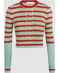 Philosophy Di Lorenzo Serafini - Striped Ribbed Cable-knit Cropped Jumper - Lyst