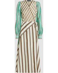 Anna October - Striped V-neck Wrap Midi Dress - Lyst