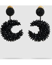 Oscar de la Renta - Half-moon Beaded Clip Earrings - Lyst