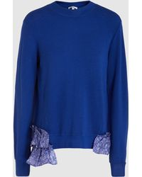 CLU - Ruffle-trimmed Knitted Sweater - Lyst