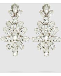 Oscar de la Renta - Silver-tone Crystal Clip Earrings - Lyst