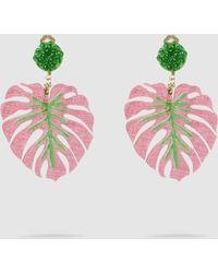 Mercedes Salazar - Palm Leaf Embellished Resin Clip Earrings - Lyst
