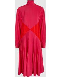 Cedric Charlier - Turtleneck Colour Block Pleated Dress - Lyst