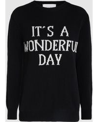 Alberta Ferretti - It's A Wonderful Day Slogan Wool And Cashmere Sweatshirt - Lyst