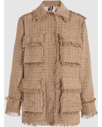 MSGM - Fringe-trimmed Tweed Jacket - Lyst