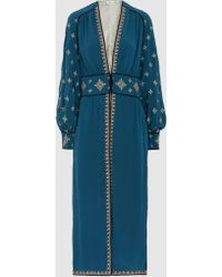 Talitha - Tabia Silk-crepe Embroidered Robe Jacket - Lyst