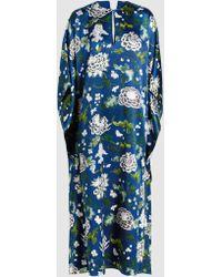 Adam Lippes - Floral-print Silk-satin Kaftan Gown - Lyst