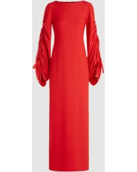 OSMAN - Evette Ruched Stretch-crepe Maxi Dress - Lyst