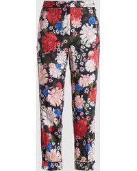 Erdem - Ginnie Floral Print Silk-satin Trousers - Lyst