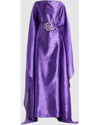 Taller Marmo - Belted Satin-jacquard Kaftan Gown - Lyst