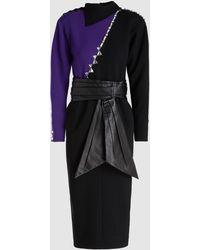 Marc Jacobs - Embellished Colour Block Wool Midi Dress - Lyst