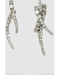 Ryan Storer - Mismatched Silver-tone Crystal Earrings - Lyst