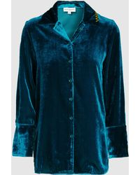 Mira Mikati - Embroidered Velvet Pajama Top - Lyst