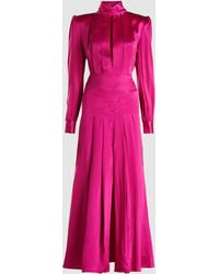 Alessandra Rich - Silk Satin High Neck Pleated Dress - Lyst