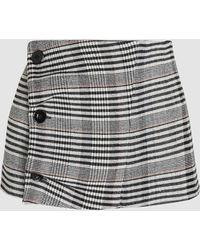 Jil Sander Checkered Button-detail Wool-blend Waist Belt - Gray