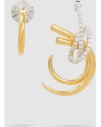 Ryan Storer Mismatched Crystal-embellished Gold-tone Earrings - Metallic