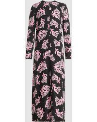 Marni - Coral Print Long Sleeve Crepe Dress - Lyst