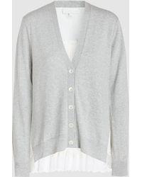 CLU - Pleated Cotton-blend Cardigan - Lyst