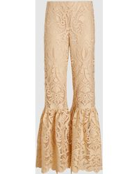 Anna Sui Baroque Lace Flared Trousers - White
