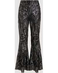 Anna Sui - Fluttering Floral Sequin Trousers - Lyst