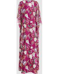 Alberta Ferretti - Printed Draped Silk-chiffon Gown - Lyst