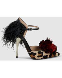 Giambattista Valli - Pompom Leopard Slingback Court Shoes - Lyst