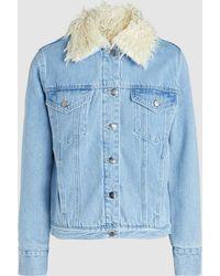 FRAME - Curly Shearling Collar Denim Jacket - Lyst