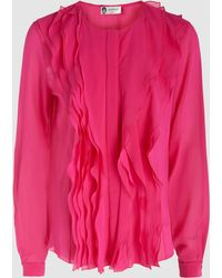 Lanvin - Ruffled Stretch-silk Georgette Blouse - Lyst