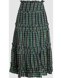 e9592f3bba73 Proenza Schouler - Open Weave Tiered Chequered Cotton-blend Midi Skirt -  Lyst