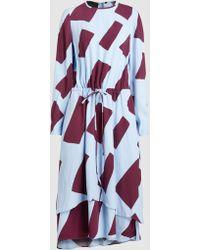 Cedric Charlier - Printed Layer-hem Midi Dress - Lyst