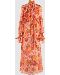 MSGM - Printed Silk-organza Maxi Dress - Lyst