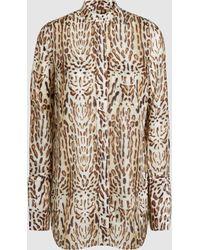 Adam Lippes - Ocelot-print Cotton-voile Blouse - Lyst