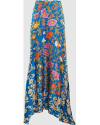 Peter Pilotto - Botanical Print Hammered Silk Blend Maxi Skirt - Lyst