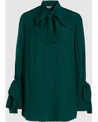 LAYEUR Baxter Tie Neck Belted Crepe Shirt