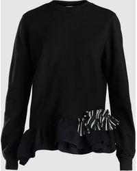 CLU - Ruffle Hem Cotton Sweatshirt - Lyst