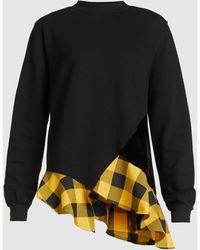 CLU Gingham Ruffle Hem Sweatshirt - Black