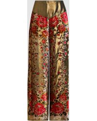 Anna Sui - Garland Metallic Panel Wide-leg Trousers - Lyst